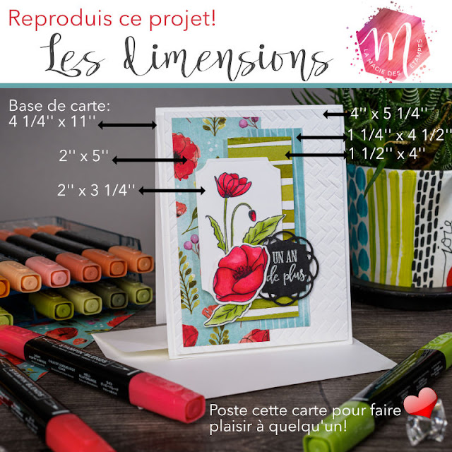 carte florale avec le jeu d'étampes Painted poppies Stampin' Up!