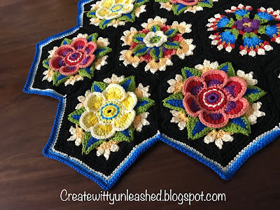 Frida's crochet flower hexagon table runner