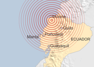 Epicentro del terremoto en Ecuador