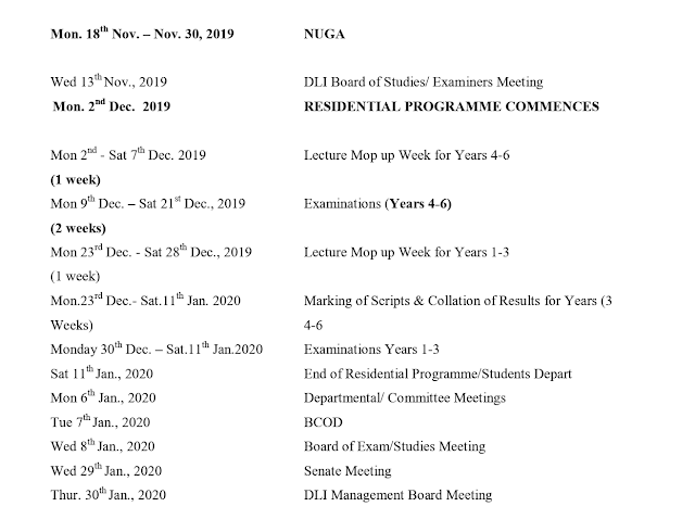 UNILAG Distance Learning (DLI) Academic Calendar 2018/2019