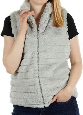 Ladies Gray Rabbit Faux Fur Vest Vest for Women