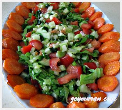 havuç kızartması ve mevsim salatası