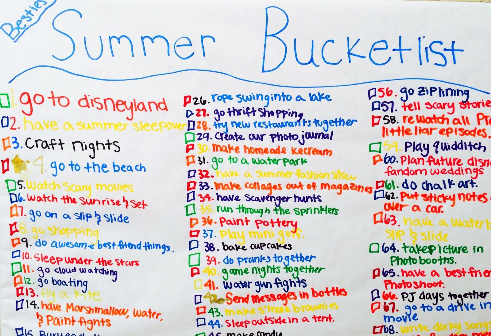 Hot Girl Summer Bucket List