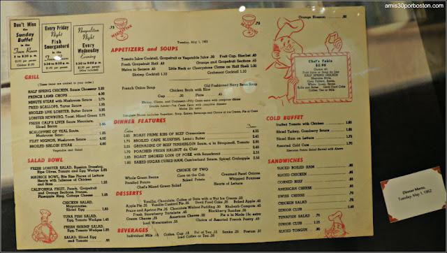 Menú Diner Museo de Arte Culinario de Providence