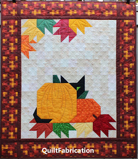 FALL QUILT-PUMPKIN-LEAVES-BLACK CAT-AUTUMN DECOR