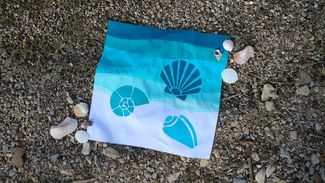 Seashells quilt block - block 1 of QAL By the Sea