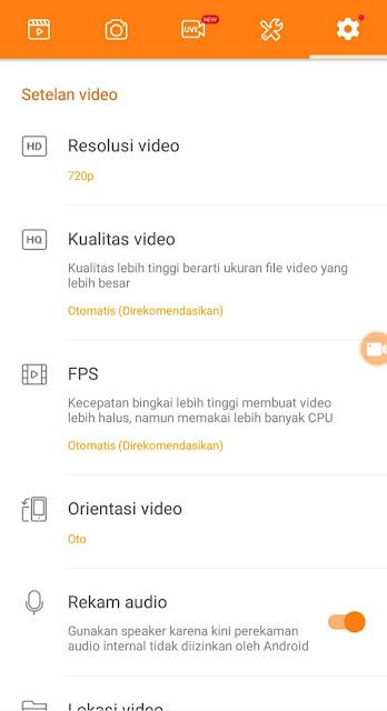 daftar pengaturan di aplikasi du screen recorder