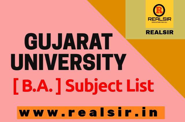 Gujarat University B.A. Subject List