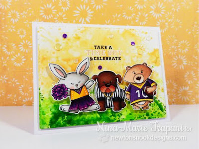 Football card by Nina-Marie Trapani | Touchdown Tails stamp set by Newton's Nook Designs #newtonsnook