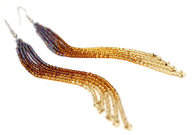 купить очень длинные серьги ручной работы стильное украшение