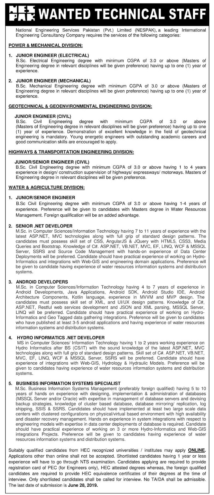 NESPAK Engineering Required Technical Staff Jobs June 2019
