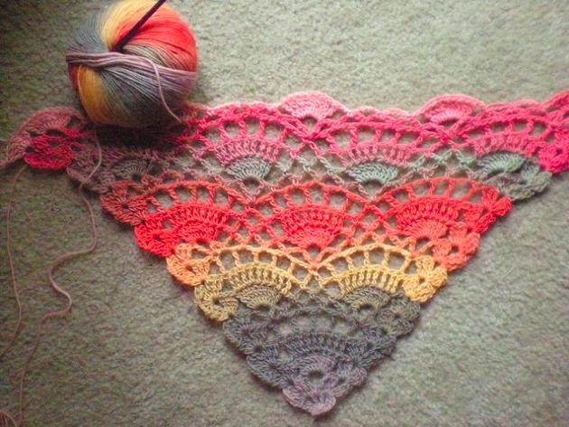 Crochet pattern for a shawl.