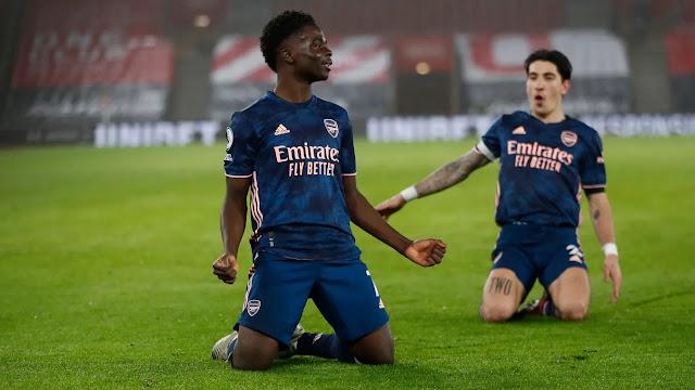 Arsenal star Bukayo Saka celebrates a goal
