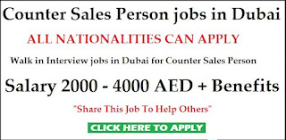 Counter Sales Staff Jobs Recruitment in Leading Company in UAE