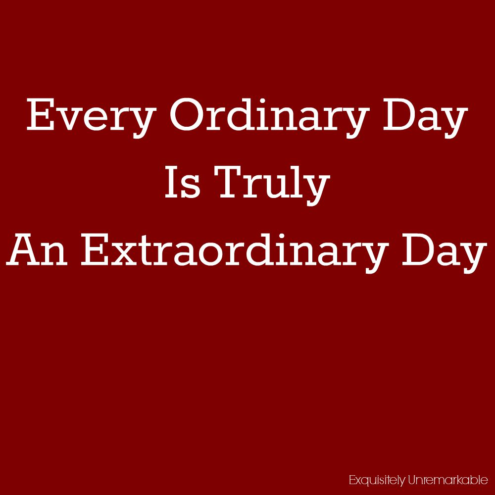 Every Ordinary Day Is An Extraordinary Day