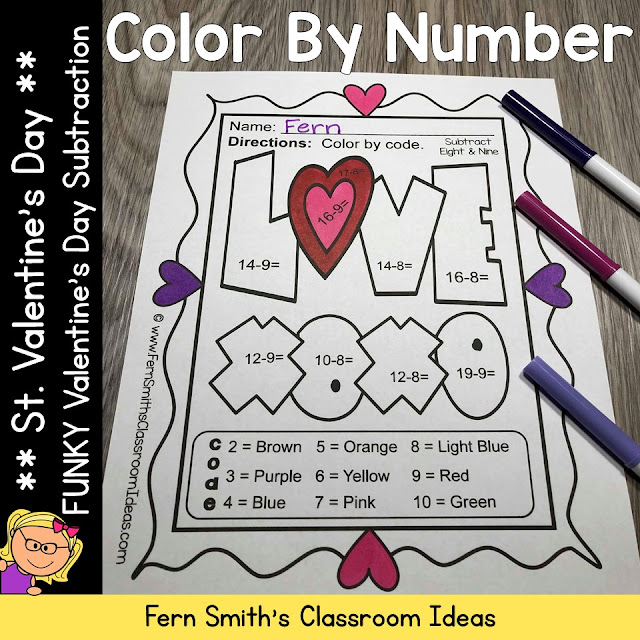 You will love the no prep, print and go ease of these 5 St. Valentine's Day Color By Number Subtraction printables. My FUNKY SERIES, the students can't predict the answers and they love the colorful finished product they get to take home!