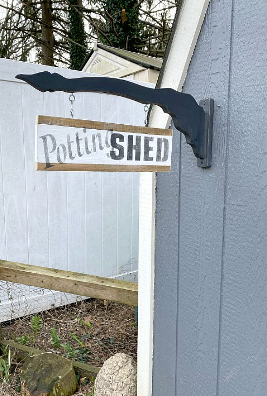Two sided garden shed sign for the garden