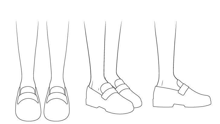 Sepatu sekolah anime menggambar garis besar