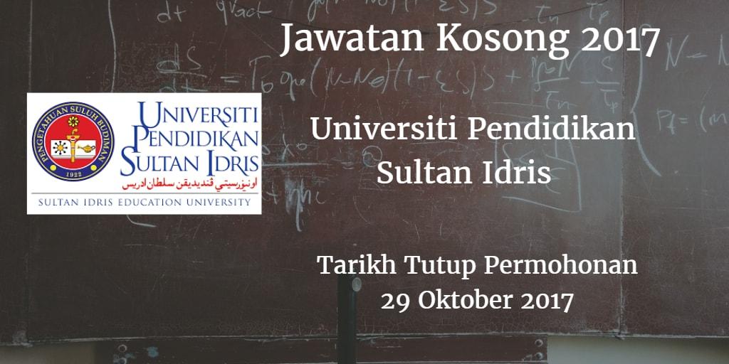 Jawatan Kosong Universiti Pendidikan Sultan Idris 29 Oktober 2017