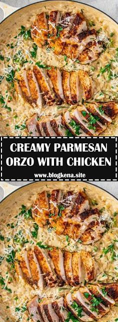 CREAMY PARMESAN ORZO WITH CHICKEN