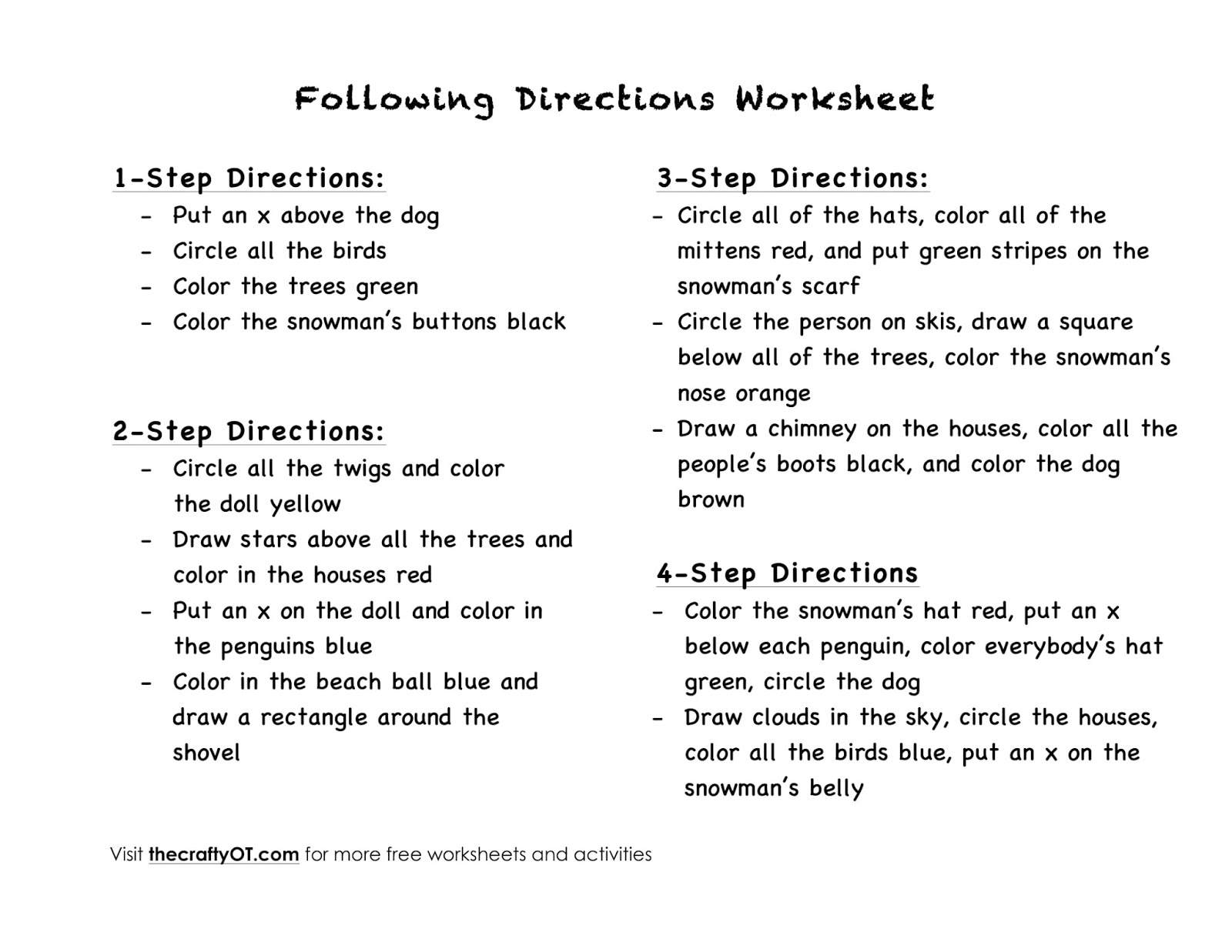 worksheet Visual Scanning Worksheets the crafty ot free winter worksheets works on following multi step directions memory recall of verbal or written instructions auditory processing visual scanning