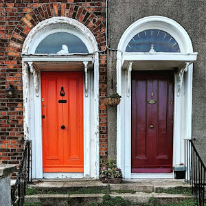 Dublin Doors: Orange and burgundy pair of doors