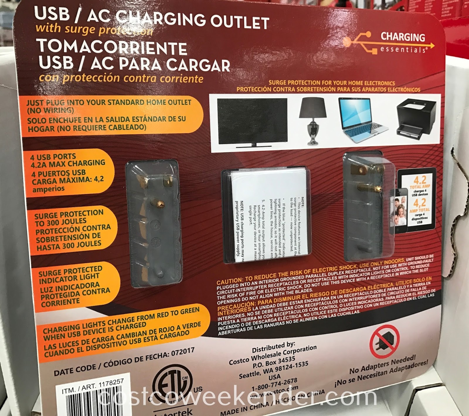 Costco 1178257 - Charging Essentials USB AC Charging Outlet: just plug into your standard home outlet