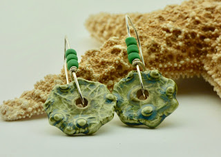 Textured Green Earrings by BayMoonDesign