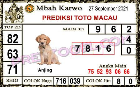 Prediksi jitu Mbah Karwo Macau Senin 27 September 2021