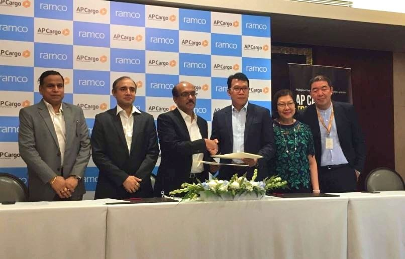 Senior executives from Ramco Systems and AP Cargo at the contract signing ceremony in the Philippines.