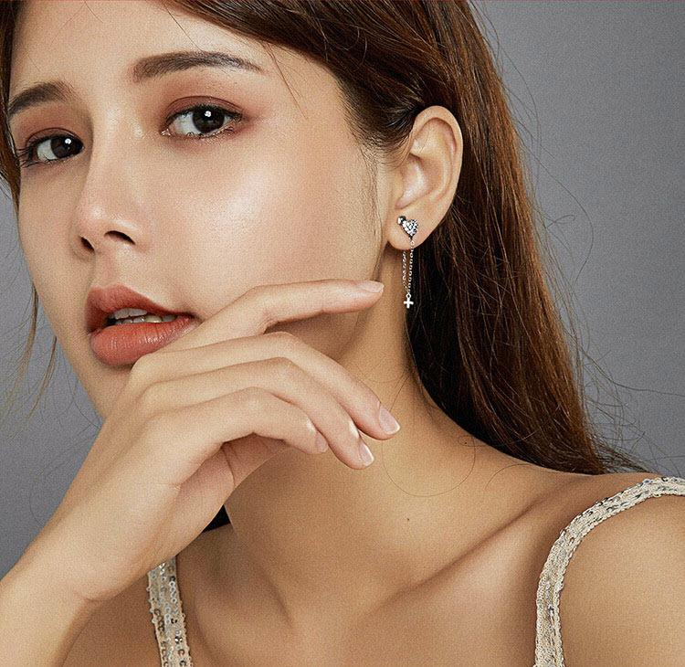 天使之愛 925純銀鋯石流蘇耳環
