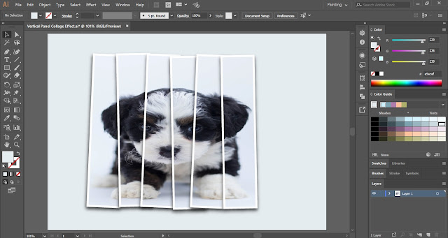 Vertical Panel Collage Effect in Adobe Illustrator