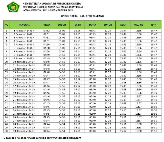 jadwal imsakiyah ramadhan buka puasa kabupaten aceh Tamiang 2020 m 1441 h tomatalikuang.com