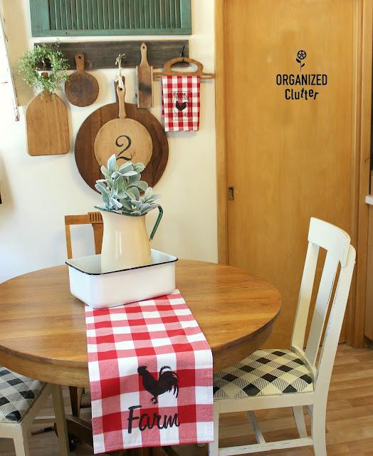 DIY Farmhouse Style Stenciled Hobby Lobby Buffalo Check Kitchen Linens #farmhouse #buffalocheck #buffaloplaid #tablerunner #stencil #rooster #feedsack #hobbylobby #fusionmineralpaint