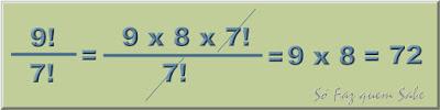 Exemplo de cálculo com fatorial. simplificação de fração com fatoriais