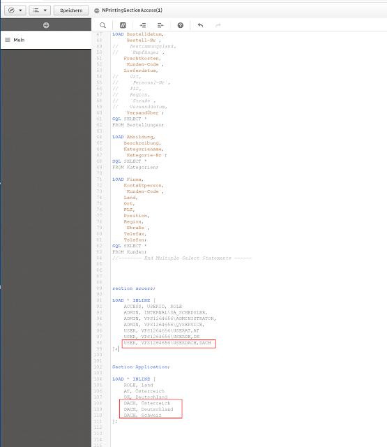 NPrinting Section Access Qlik Sense Script