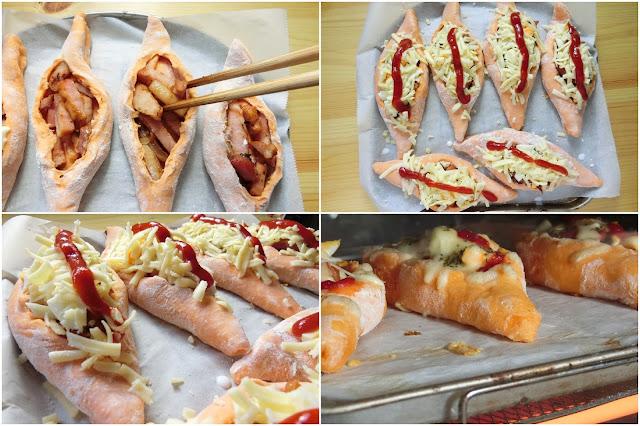 オーブントースターの天板にクッキングシートをのせ、その上に生地を並べたら残りの【パンの具】、ゆで卵を切れ込みにたっぷり詰め込み、チーズをのせたら最後にケチャップ、ドライパセリを散らします。 ※画像は撮影用に間隔を空けずにパン生地を並べていますが、実際には間隔を十分空けて並べてください。  そうしないと、焼いているうちに生地が膨らんで生地同士がくっついてしまいます。  オーブントースターで985Wで約15分焼きます。 焦げてきたらワット数を下げて焼いていください。