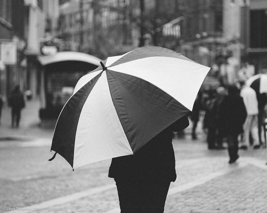 Portland, Maine USA November 2019 photo by Corey Templeton. A round umbrella in Monument Square.