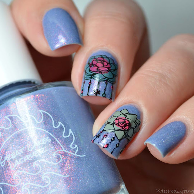 succulent themed nail art