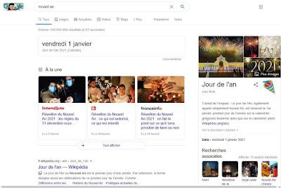 Oeuf de Pâques de Google pour le Nouvel An 2020