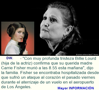 "Murió Carrie Fisher, la princesa Leia de ""Star Wars"""