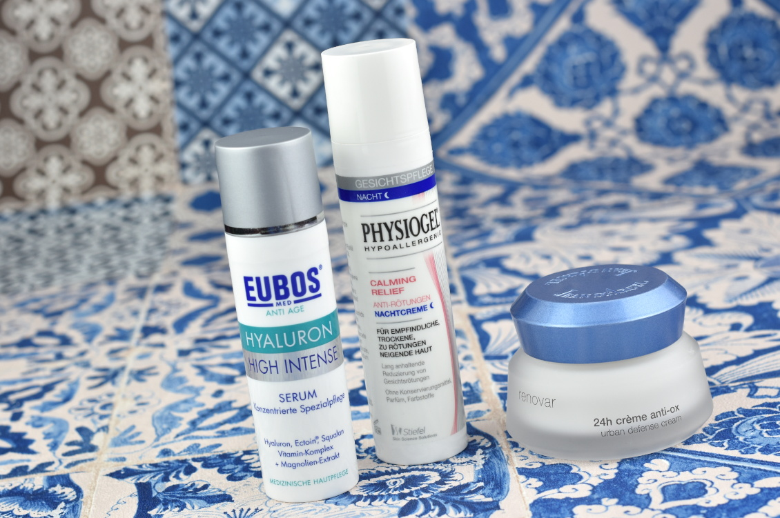 Sommer Favoriten 2019 - EUBOS Hyaluron High Intense Serum, Physiogel Calming Relief Anti-Rötungen Nachtcreme und Jean d'Arcel 24h crème anti-ox aus der renovar Serie