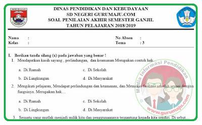 Soal UAS / PAS Kelas 6 Tema 3 Kurikulum 2013 Revisi 2018