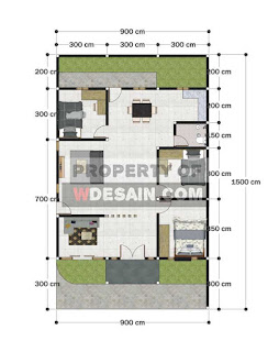 Denah rumah minimalis ukuran 9x15 1 lantai
