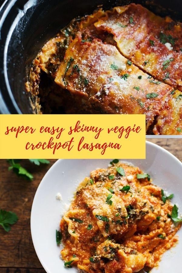 super easy skinny veggie crockpot lasagna