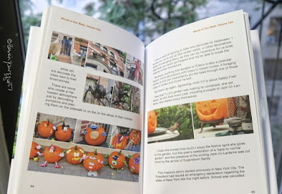 "This photo features a couple of pages from volume two of my book series, ""Words In Our Beak.""  The left portion of the image shows page 44. At the top of that page are three photos showing a partial view of NYC brownstones which are decorated for Halloween. Immediately below them and to the left are two more pictures of featuring this situation. At the bottom of the page are two rows of small photos. They all feature an array of pumpkins that have faces painting on them they could be carolers if the season had been Christmas. In this blog post I've been referring them  as ""The Pumpkin Choir.""  Moving on to the righthand portion of this photo of two pages from ""Words In Our Beak, "" there are two photos in the middle of the page (which is number 45). Both were taken in my garden. Both feature a smiling Jack-O-Lantern sitting on a white-table top. In the photo at the the ""Jack"" appears to be smiling at a male House finch (a bird type which is rosy red around the face and upper breast, with streaky brown back, belly and tail).   In the photo at the right, the Jack-O-Lantern appears to be smiling at a Tufted-titmouse. This bird variety is small and gray-colored. Tufted titmouses have large black eyes, small, round bill, rusty-colored flanks as well as a brushy crest.  Again, the photos seen here are from volume two of my book series, ""Words In Our Beak."" The press release for this volume is on my blog @ https://www.thelastleafgardener.com/p/blog-page_10.html  Moreover, info re all three volumes of the series is on my blog @ https://www.thelastleafgardener.com/2018/10/one-sheet-book-series-info.html"