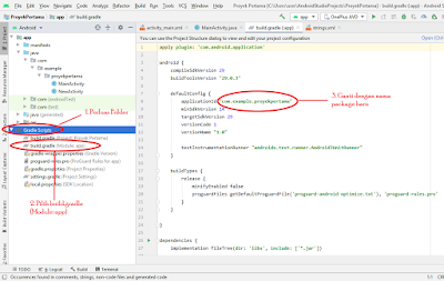 mengganti package name di gradle pada android studio