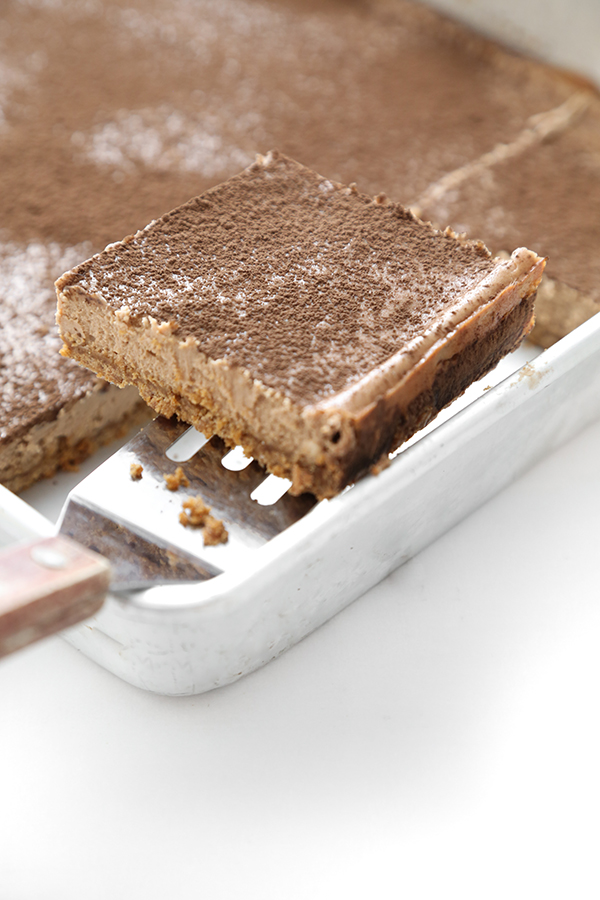 Mocha Latte Cheesecake Bars with Gingersnap Crust