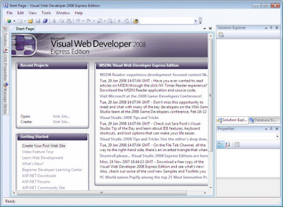 Interface VISUAL WEB DEVELOPER 2008