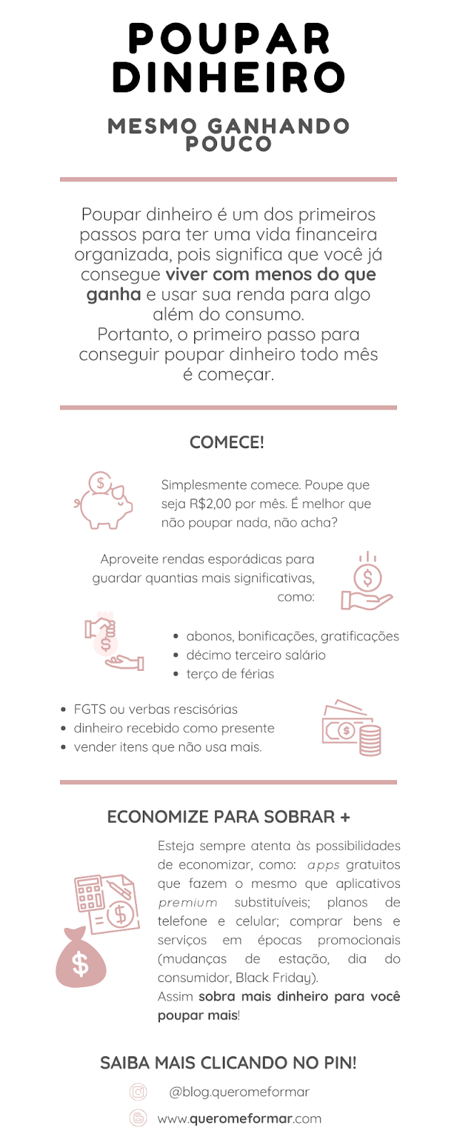 Infográfico Dicas para Conseguir Poupar Dinheiro Todos os Meses Mesmo Ganhando Pouco!